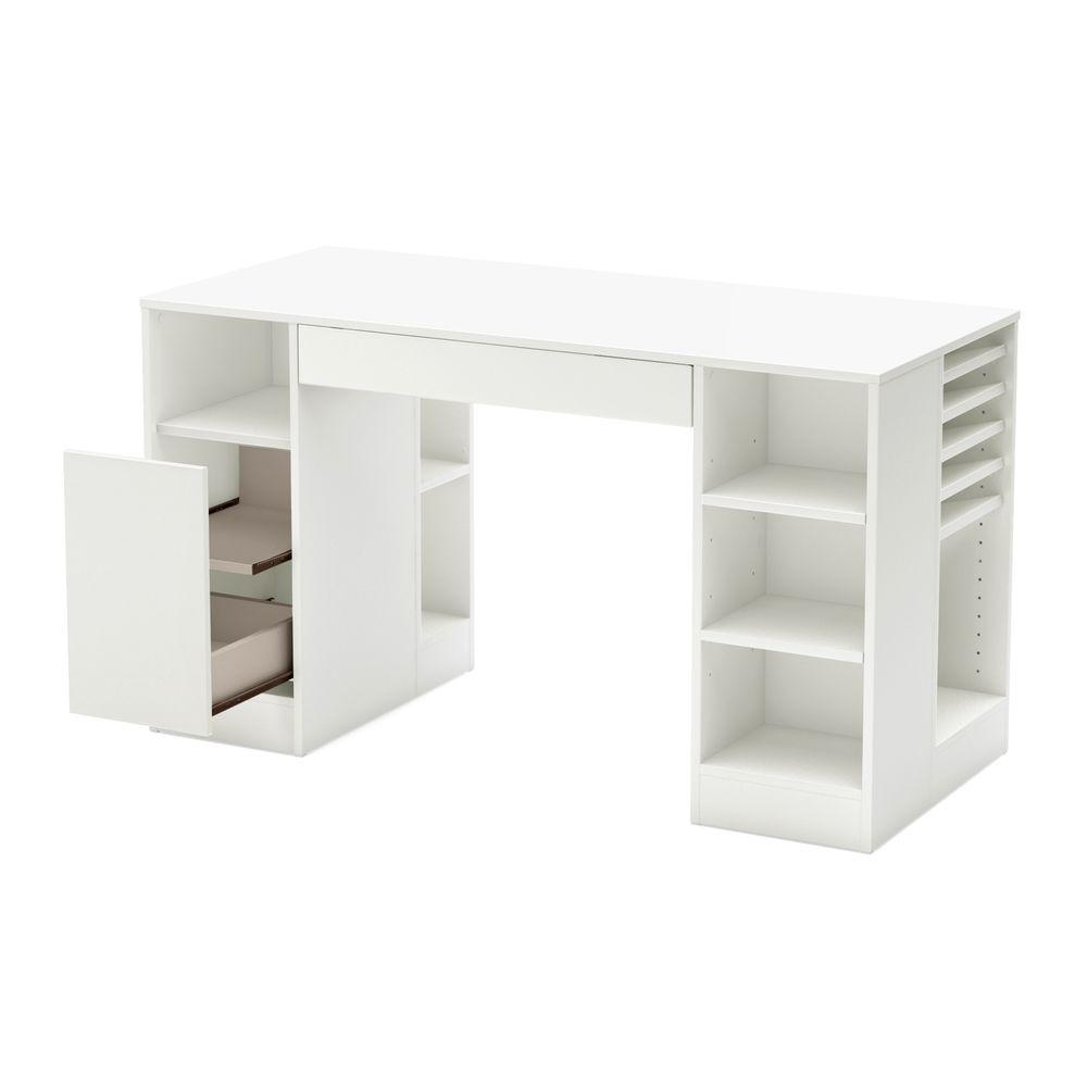 South Shore 53 5 In Pure White Rectangular 2 Drawer Computer Desk With Adjustable Shelves 7550727 The Home Depot Craft Table Craft Room Storage Craft Desk