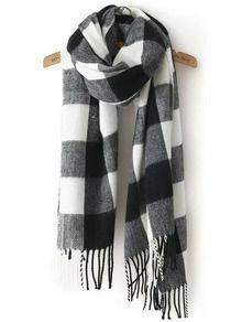 Écharpe classique avec franges motif plaid -Noir blanc   mode en ... 8e20296c51f