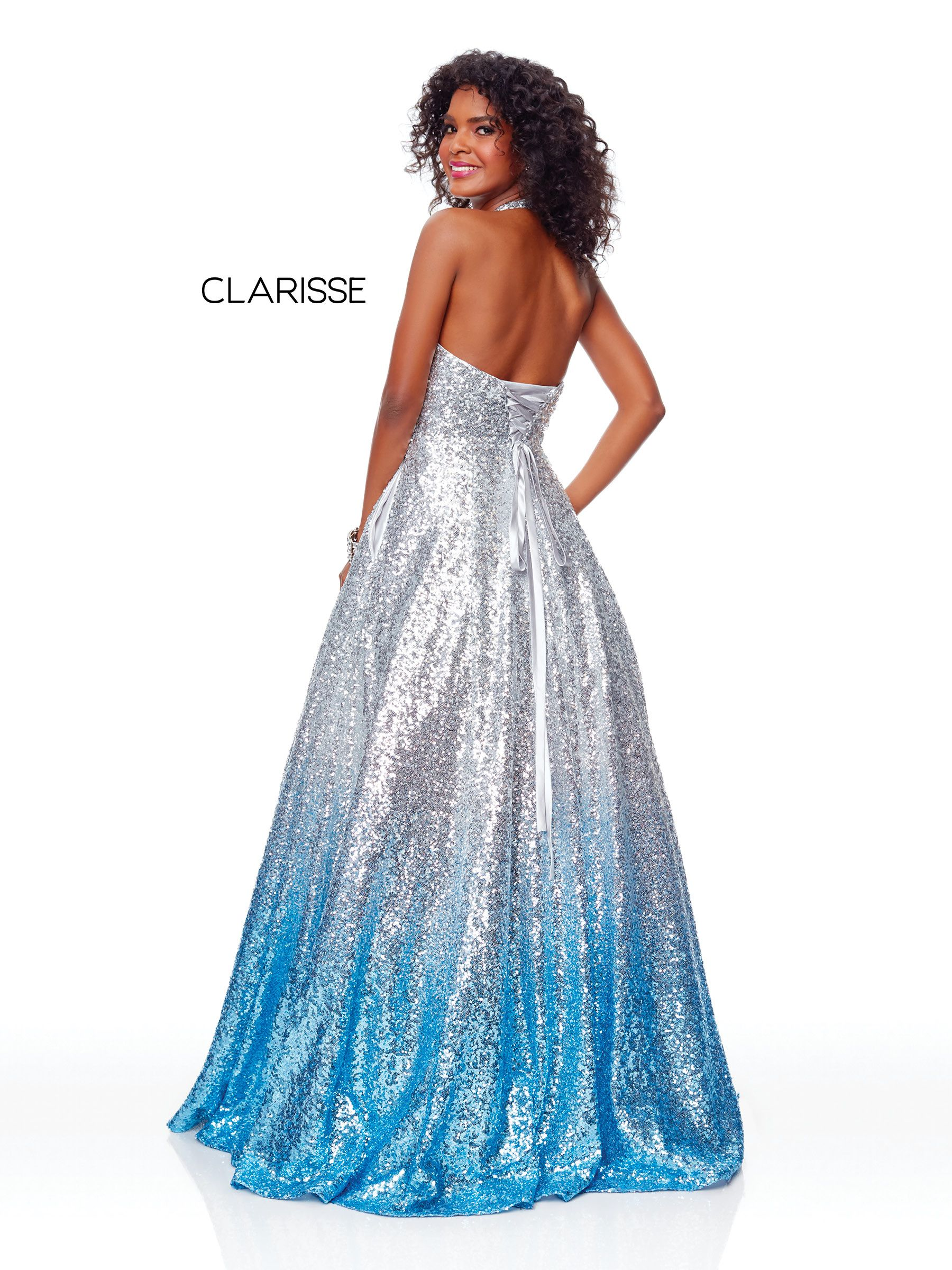 f2e4b17938c 3820 - Silver Ombre sequin ball gown with a halter top and corset back