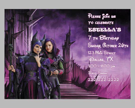 Disney The Descendants Birthday Party Invitation