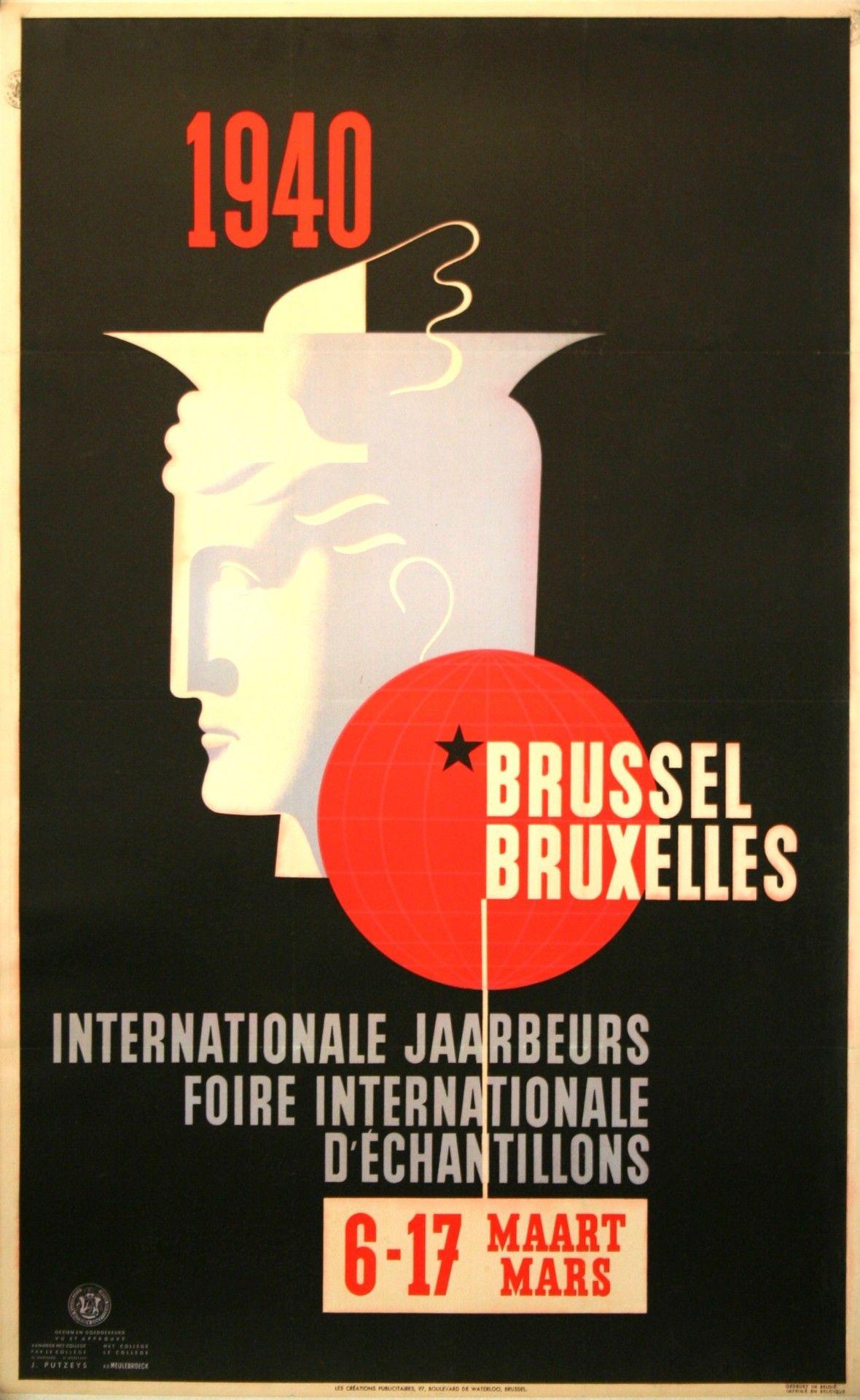 Poster design 1940 - Jaarbeurs Foire Commerciale Bruxelles Brussel 1940 Poster By Leo Marfurt