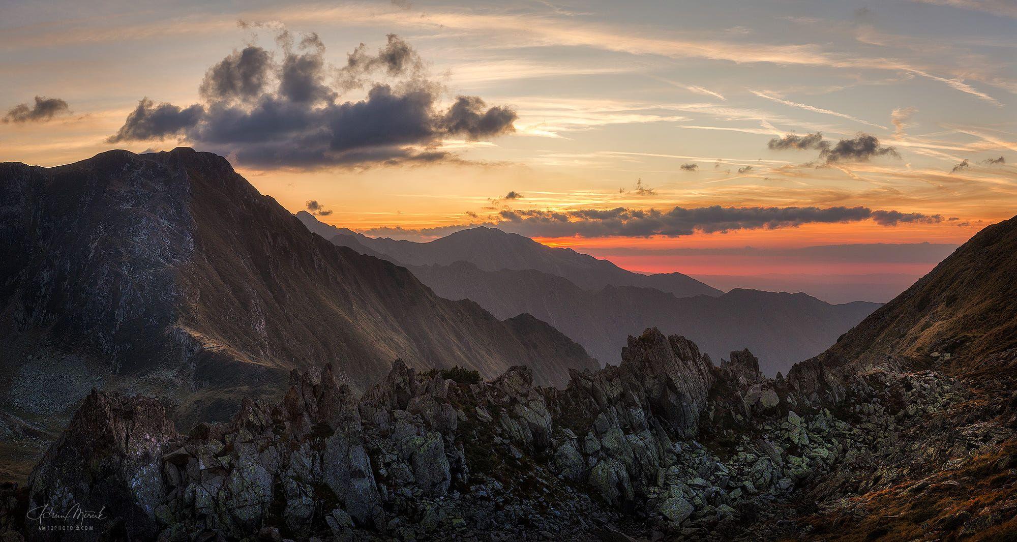 Sunset from Fagaras moutain, Romania