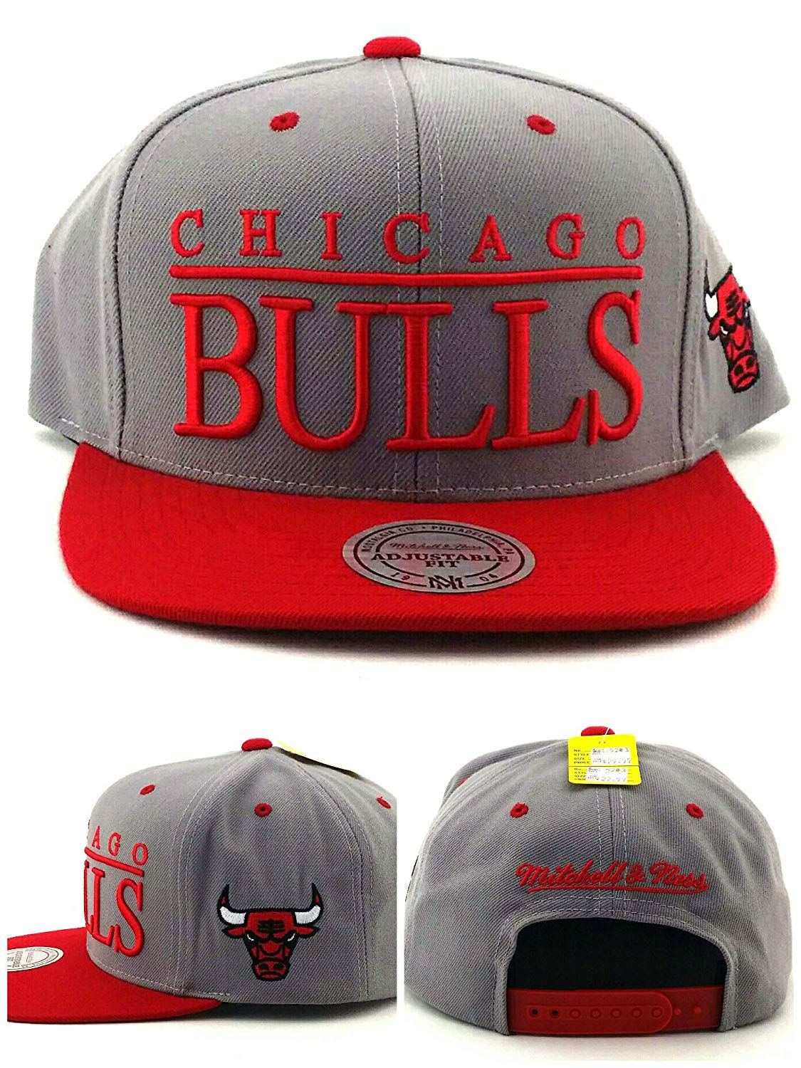 ae8a98ecadf695 Chicago Bulls TOP SHELF Gray/Red SNAPBACK Mitchell & Ness NBA Hat, $24.99