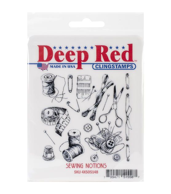 """Deep Red Cling Stamp 3""""X3""""-Sewing Notions Background"""