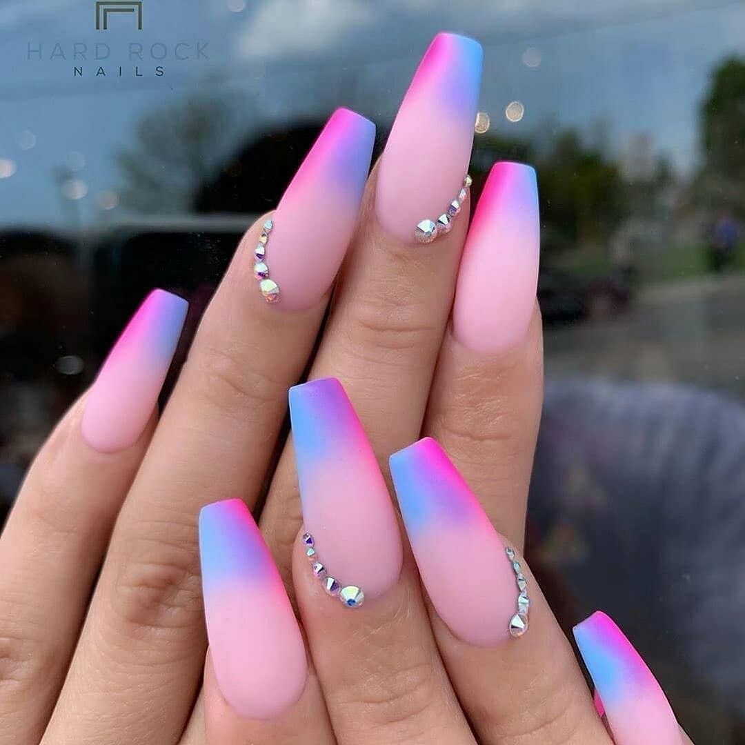Pink And Purple Ombre Nails Glow Nails Best Acrylic Nails Vibrant Nails