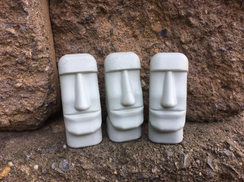 Moai Statues (3), Moai, Statues, Mini Statues, Garden Decor,