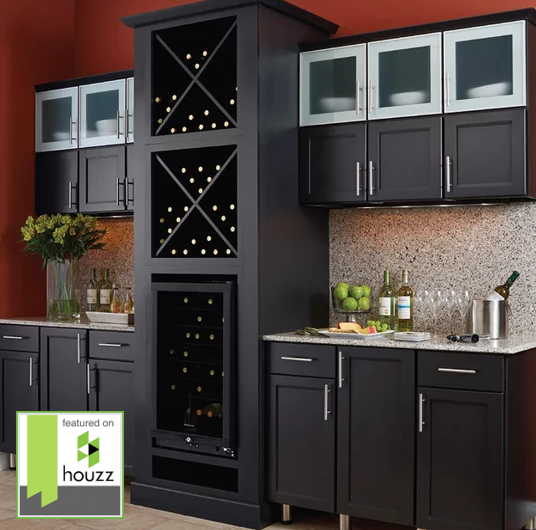 Dry Bar Maple Mission Style Door With Ebony Finish Framed Kitchen Cabinets Kitchen Cabinets Transitional Kitchen Design