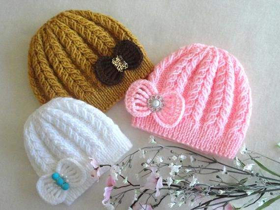 4227bdfb3 Knitting PATTERN Baby Hat Baby Beanie Knitted Baby Girl Hat Baby ...