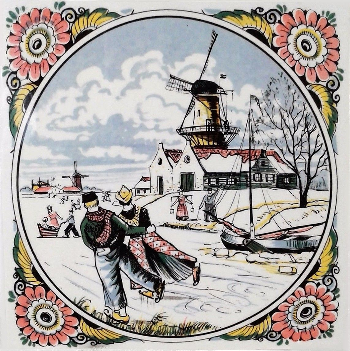 Delft Handmade Tile. Skaters with Windmill. Made in Holland