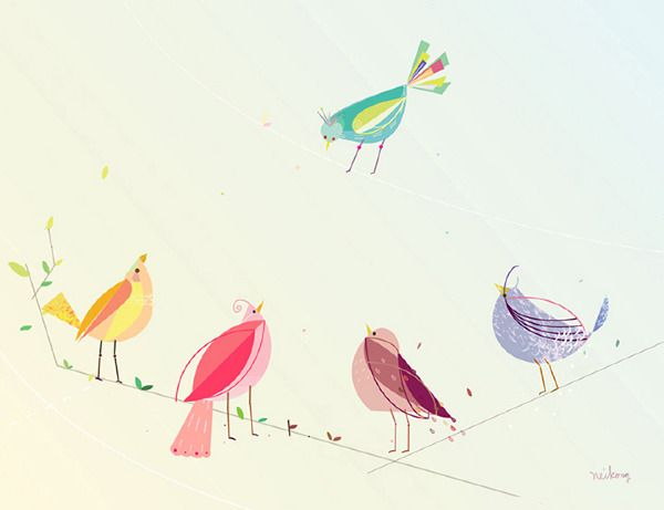 5 Seasonal Birds by Neiko Ng.
