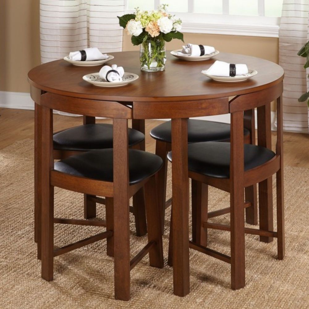 Round Kitchen Table 4 Chairs Modern Dining Room Furniture Set
