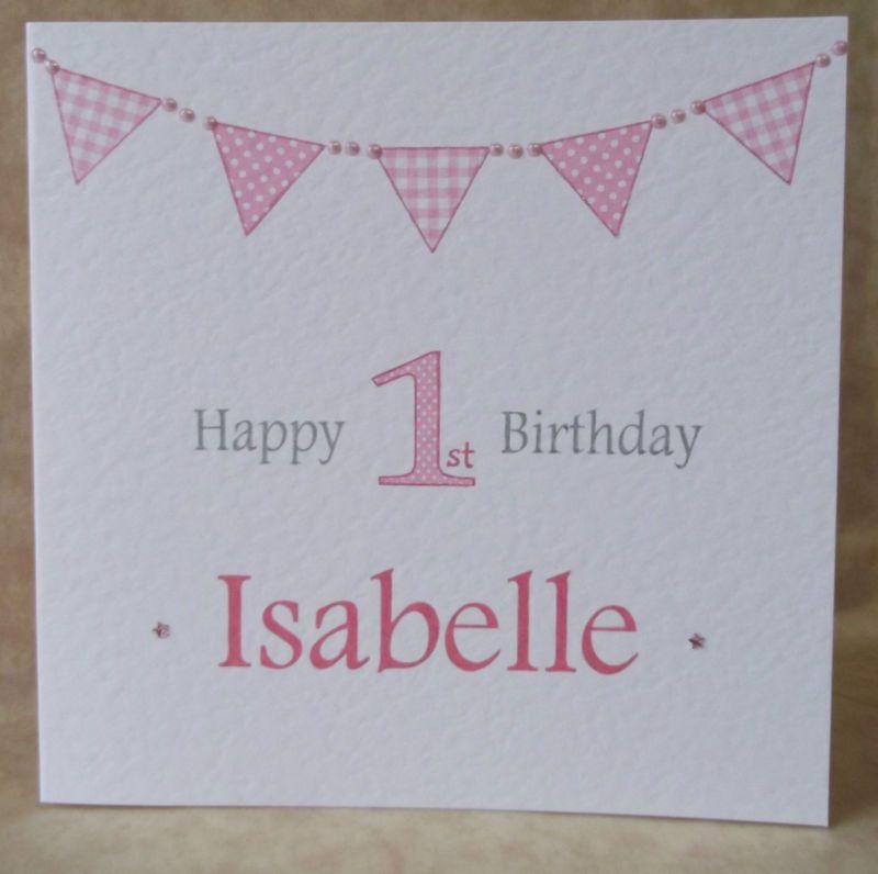 22a730f46 Handmade Personalised Bunting Boys Girls Birthday Card 1st 2nd 3rd ...