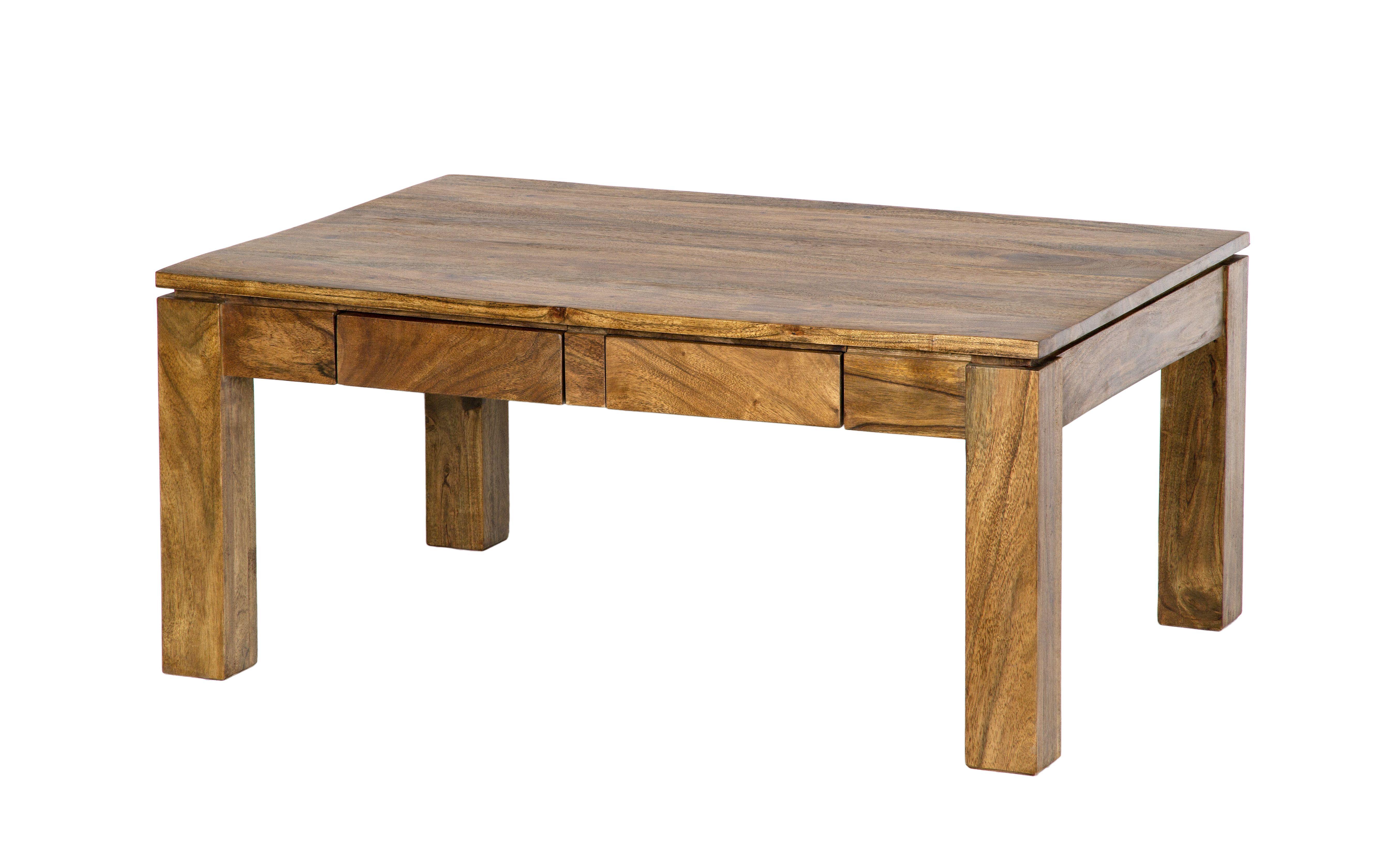 design de qualité 4d7c7 17bd4 Table basse 2 tiroirs Acacia massif miel 90x65x40cm BOREAL ...