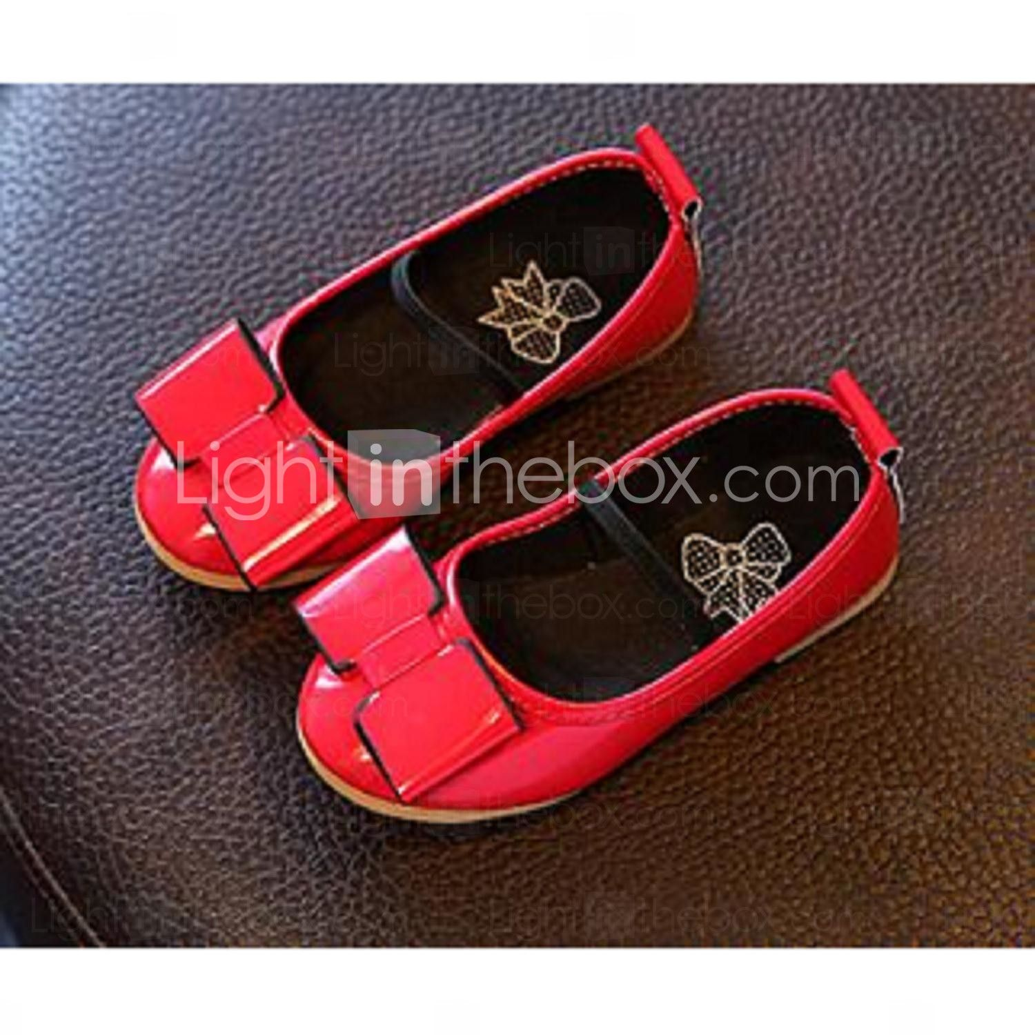 Shoes for light pink dress  Girlus Flats Comfort PU Casual Black Pink Red  Flower girl shoes