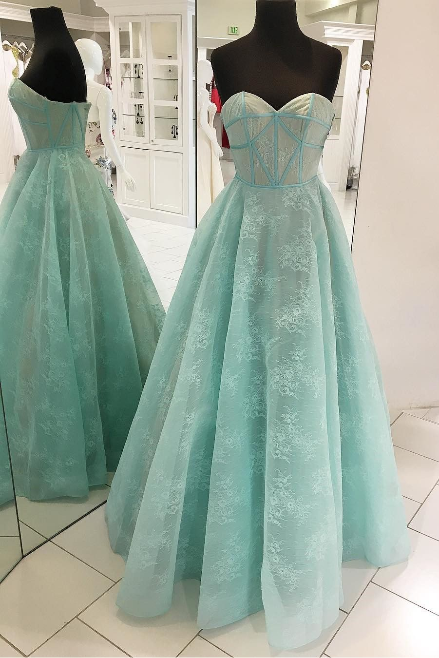 Princess Sweetheart Mint Green Lace Long Prom Dress Green Prom Dress Prom Gowns Vintage Simple Prom Dress [ 1350 x 901 Pixel ]