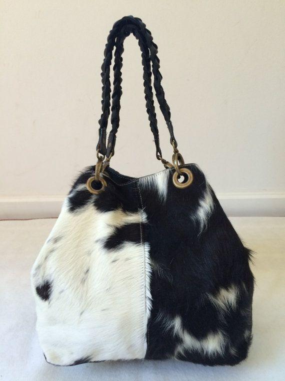 Cowhide Purse! Unique Piece! Cow Hide Handabg. Leather Bag