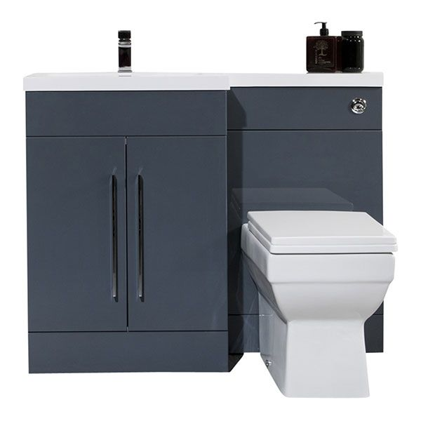 £330  Prestige L Shaped Combination Unit with Left Handed Basin, 1085mm Wide, Anthracite