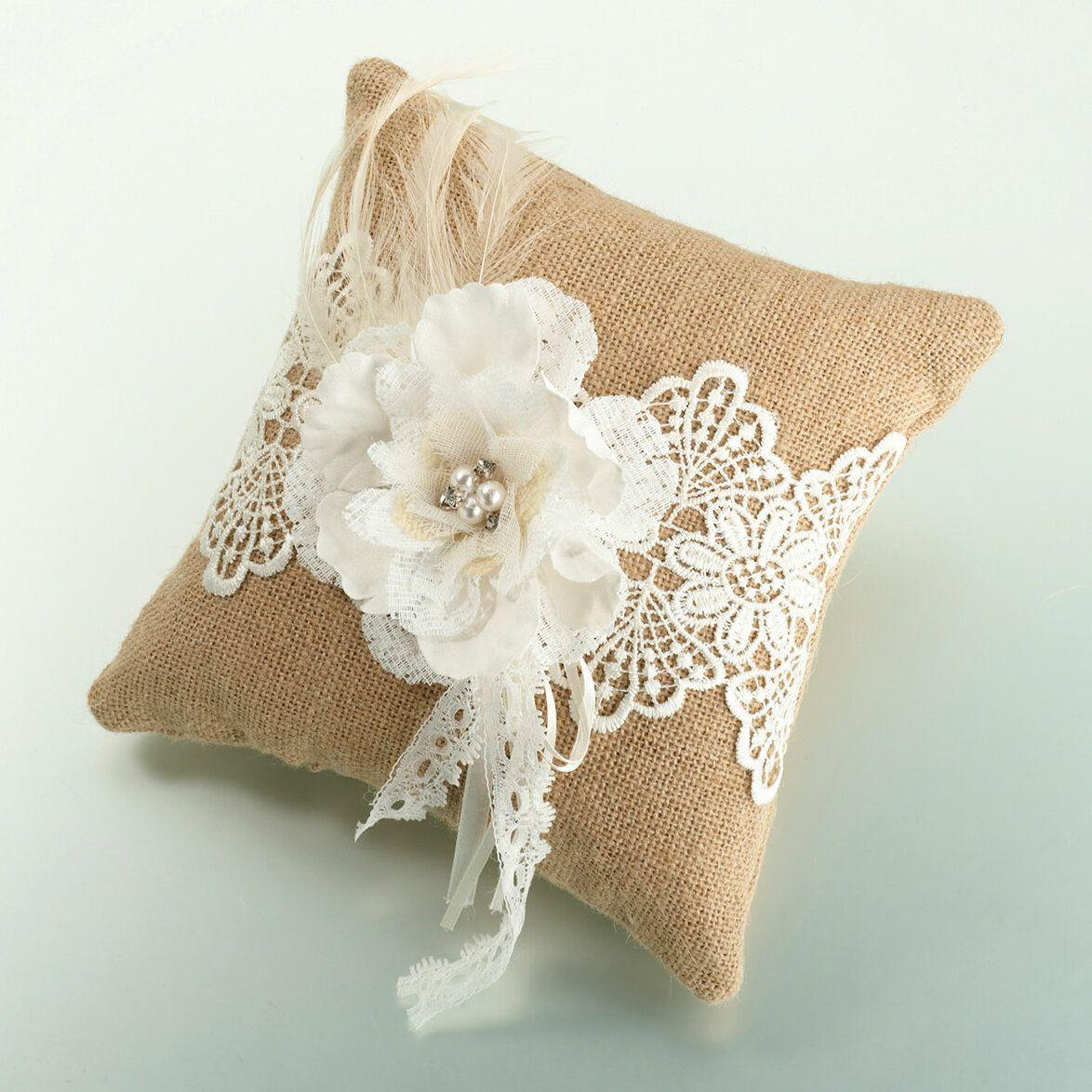 Vintage Ring Pillow~Lace Wedding Ring Cushion~Ring Bearer Cushion~Wedding Ring Holder~Vintage Wedding Decor~Rustic Wedding~Burlap Pillow