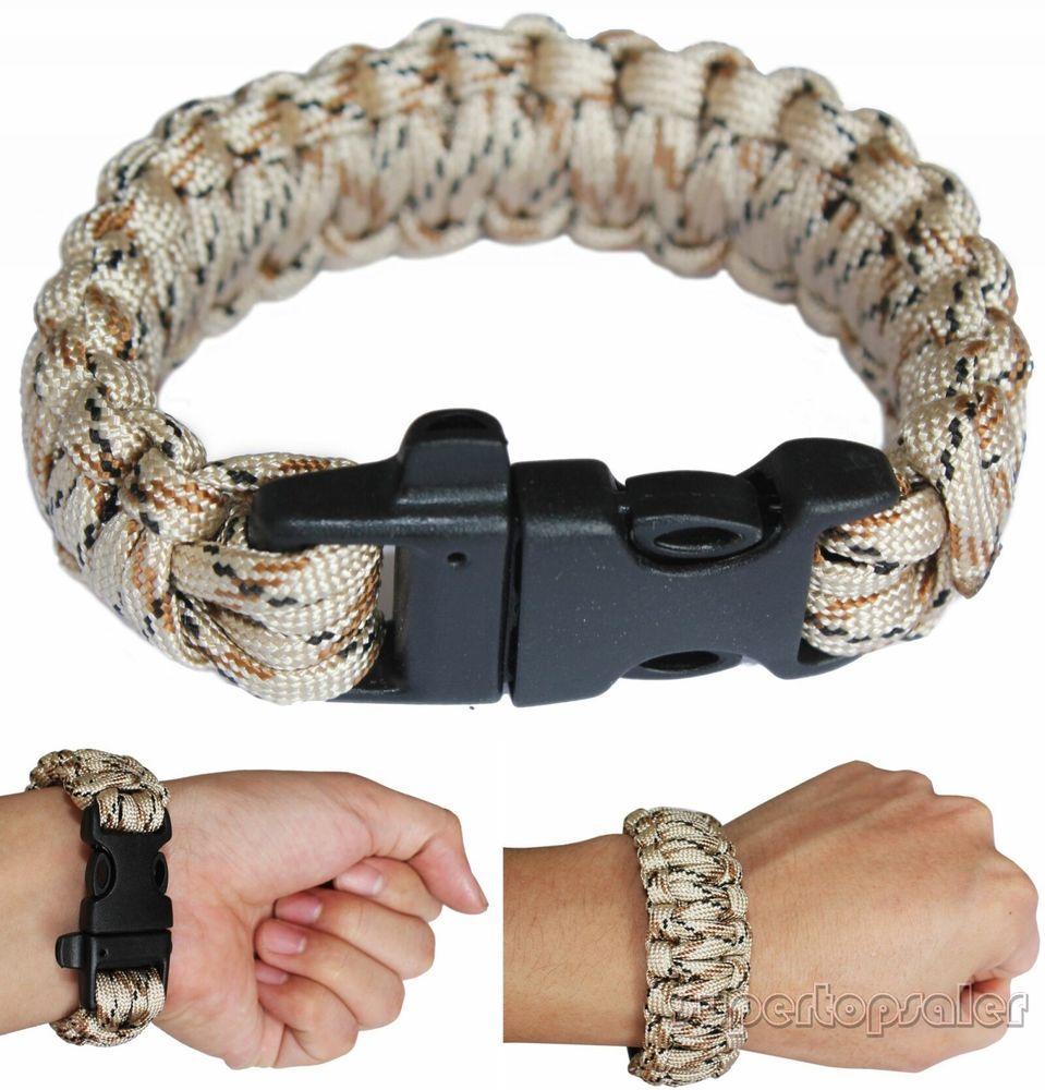 Desert Camo Paracord Military Survival Bracelet Nylon Buckle With Whistle