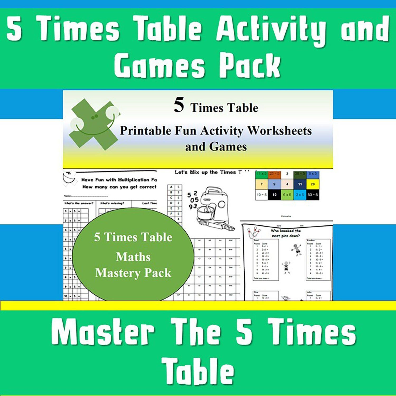 5 Times Table Activity Pack Games Printable Instant