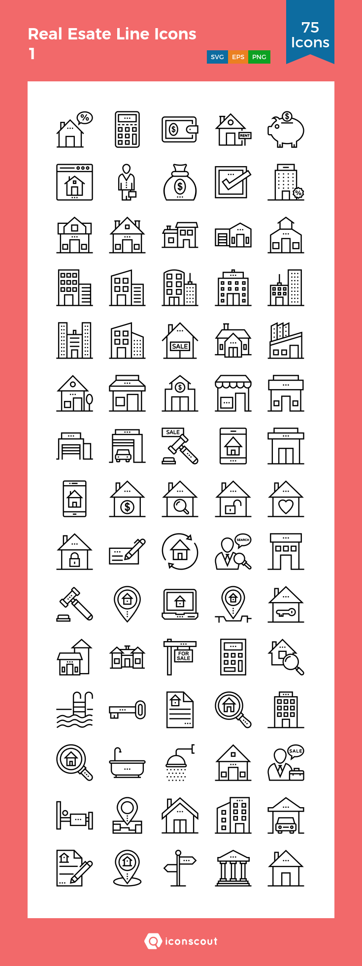 Download Real Esate Line Icons 1 Icon pack Available in