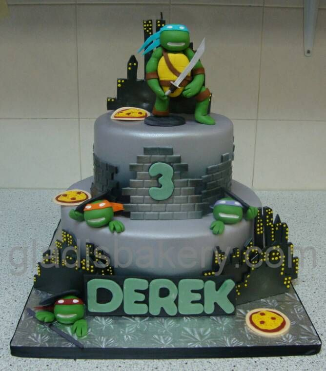 Admirable Tmnt Birthday Cake Idea I Like The Style And Colors Of Cake But Birthday Cards Printable Riciscafe Filternl