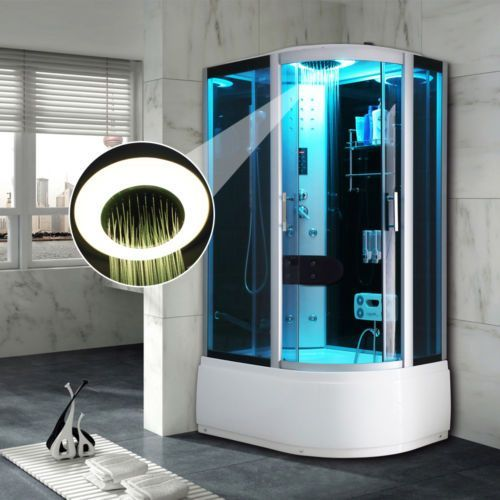 Offset Quadrant Steam Shower Enclosure Cabin Cubicle Bath Room Black ...