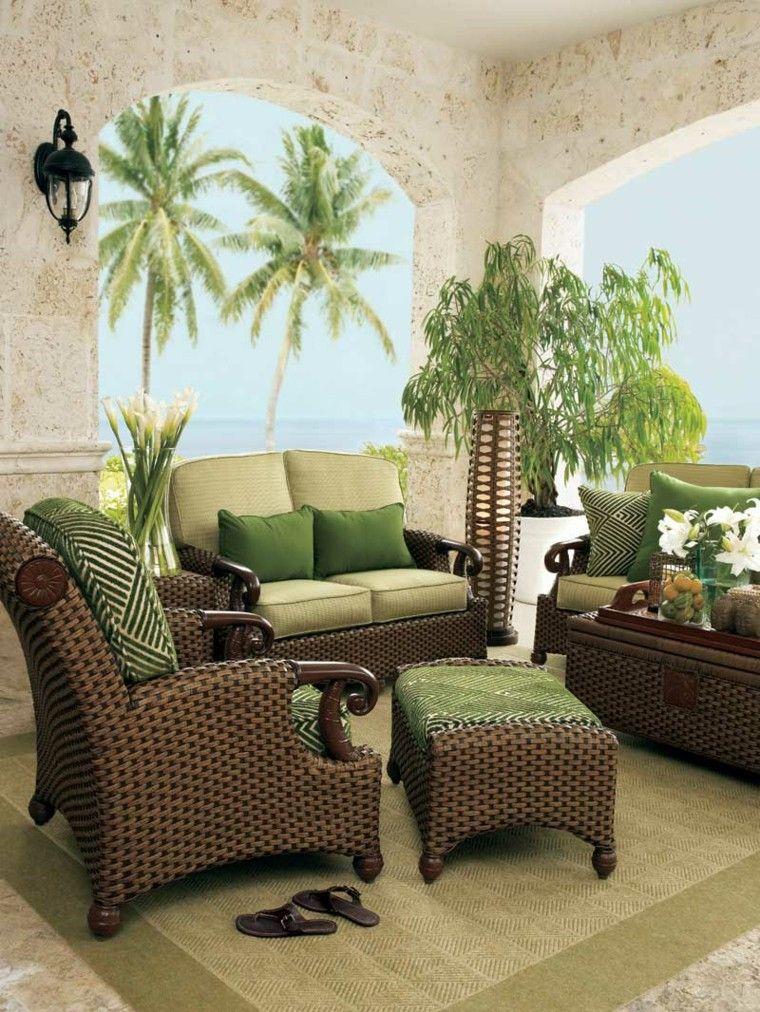 Muebles de rattan marron y verde muebles de ratan y for Muebles de rattan