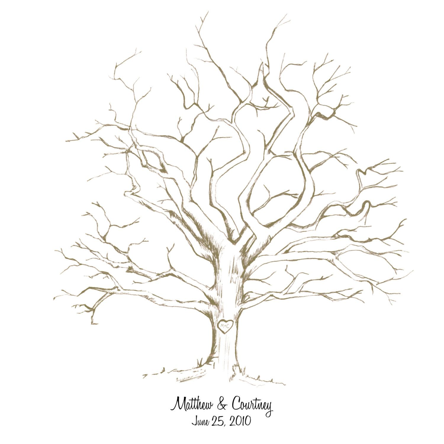Life Of Lorin Our Wedding Tree: Printable Fingerprint Tree #Hand-Drawn #Customizable