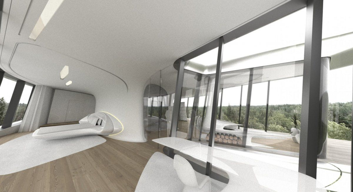 From the master bedroom, there are stunning views of the surrounding forest.