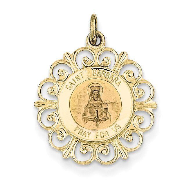 14k Saint Barbara Medal Charm Xr396