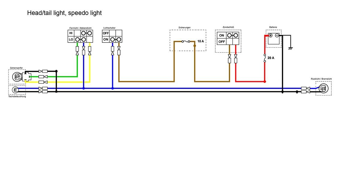 headlight section of the simplified wiring diagram for xs400 ...