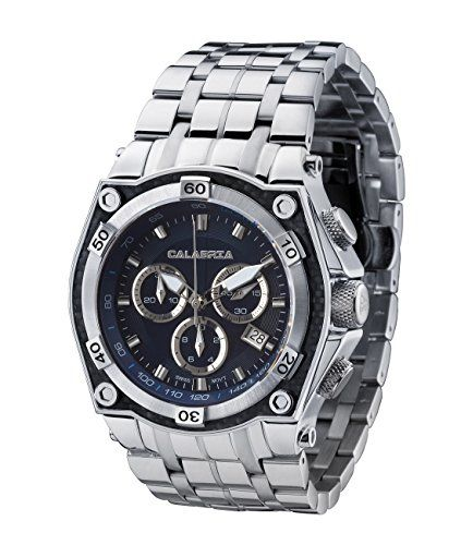 CALABRIA  AVIATORE  Blue Dial Chronograph Mens Watch with Carbon Fiber Bezel and Stainless Steel Band *** For more information, visit image link.