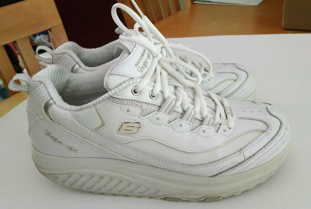 SKECHERS Women's Shape Ups 11800 White Leather Toning Walking Shoes Sz 8.5