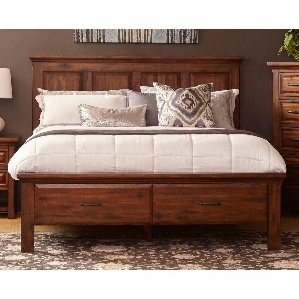 Rustic Chestnut Brown Queen Storage Bed Hill Crest King Storage Bed Storage Bed Queen Bed Slats