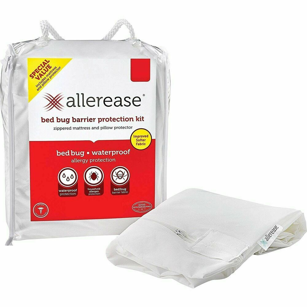 Allerease Bedbug Barrier Protection Kit Zippered Mattress Pillow Case Twin Xl Allerease Bed Bugs Mattress Protector Bug Barrier