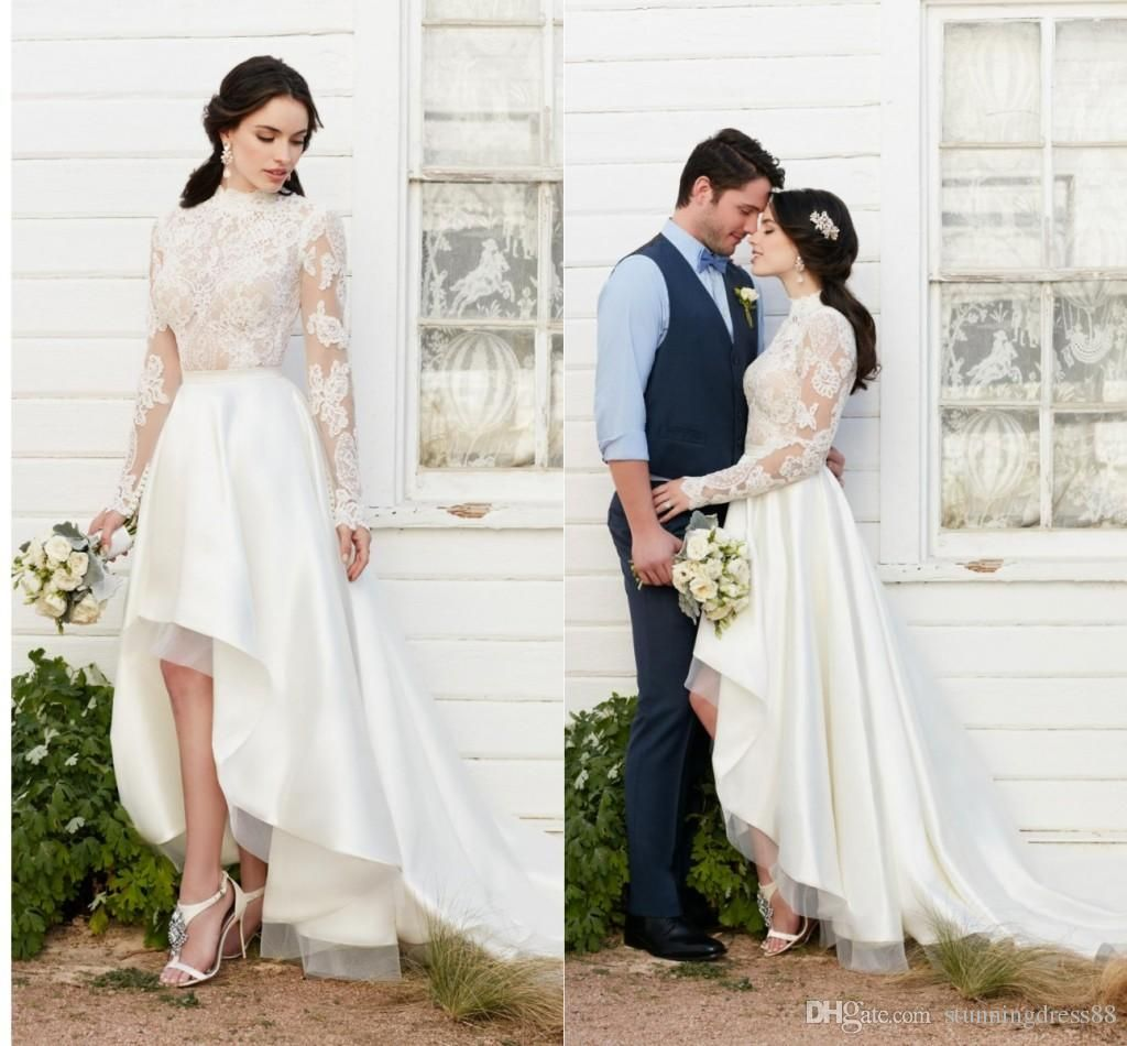 Discount Vintage Country 2019 Long Sleeve Hi Low Wedding Dresses Bridal Gowns See Through Designer Lace A Wedding Dresses Lace Beach Wedding Dress Bridal Gowns [ 950 x 1024 Pixel ]