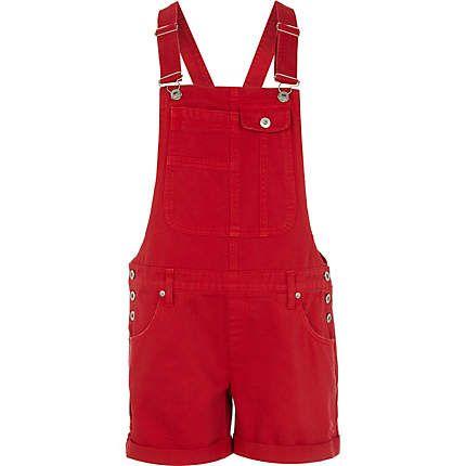 Bright red short denim overalls - vacation shop - sale - women ...