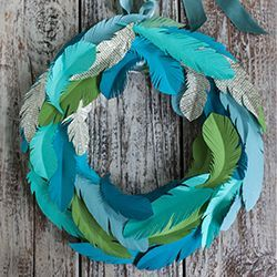 Make this paper feather wreath with the printable feather templates and a 12 inch foam wreath base.: