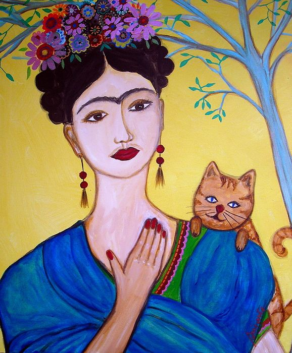 Frida And Her Cat | Frida Kahlo & Cats | Cats, Frida kahlo, Mexican