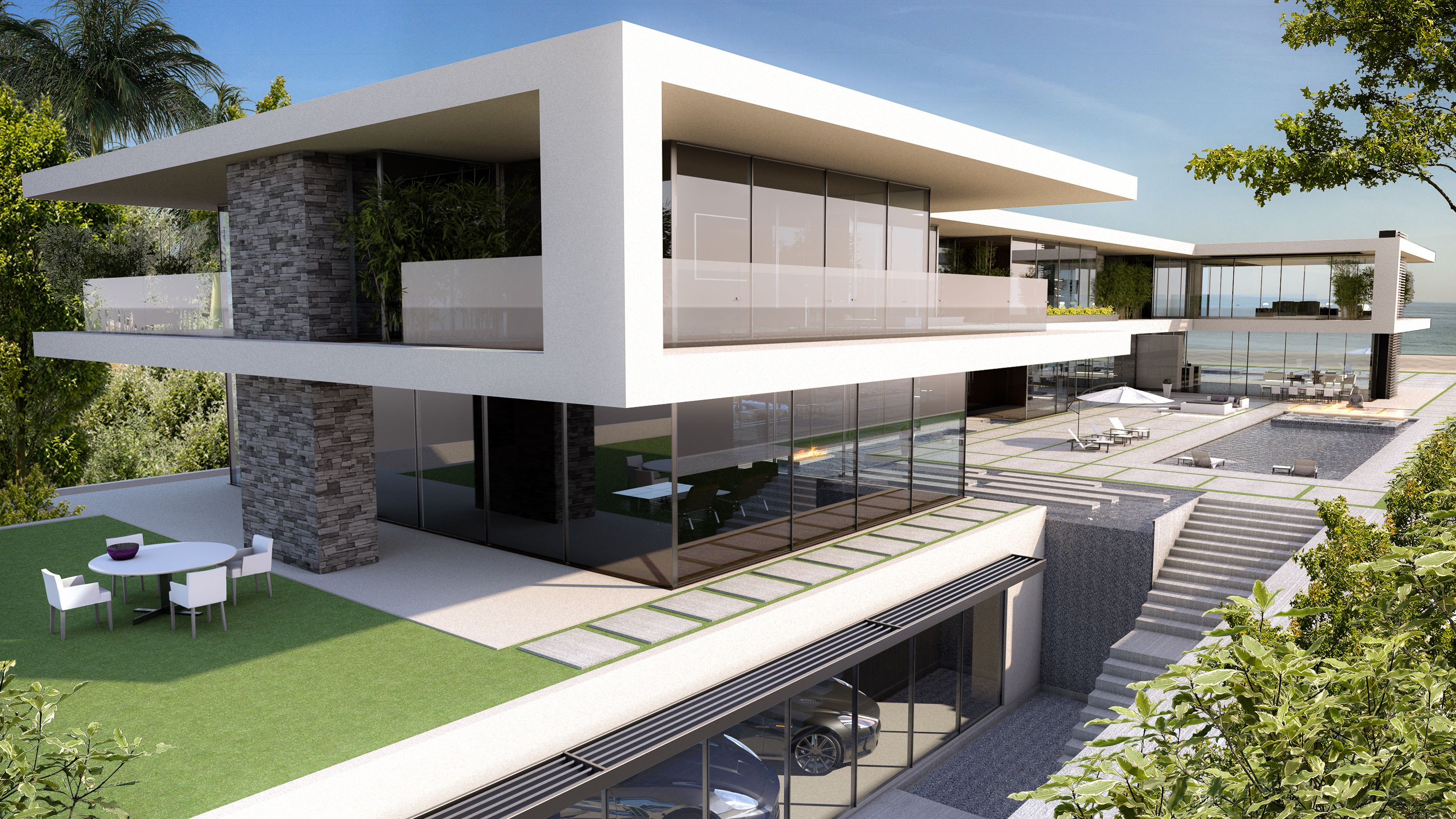 Render of a luxury house on the ocean designed by grey for Case bellissime moderne