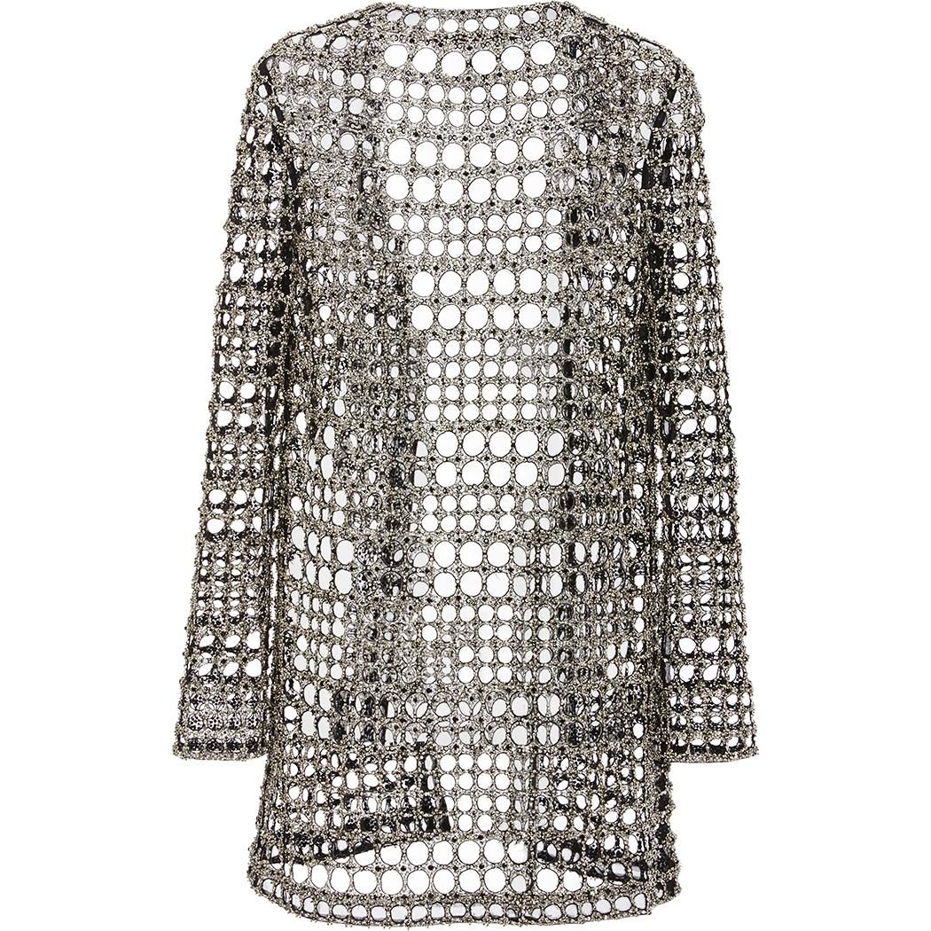 Monique Lhuillier Crystal Geo Embroidered Cardigan as seen on Camilla Belle