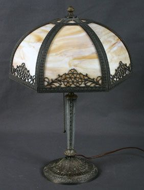 Slag Glass Panel Lamp with Metal Base EM & CO. 1109 The Miller Co. The glass is all original, Floral design filigree, Cast iron base with arts and crafts pattern.