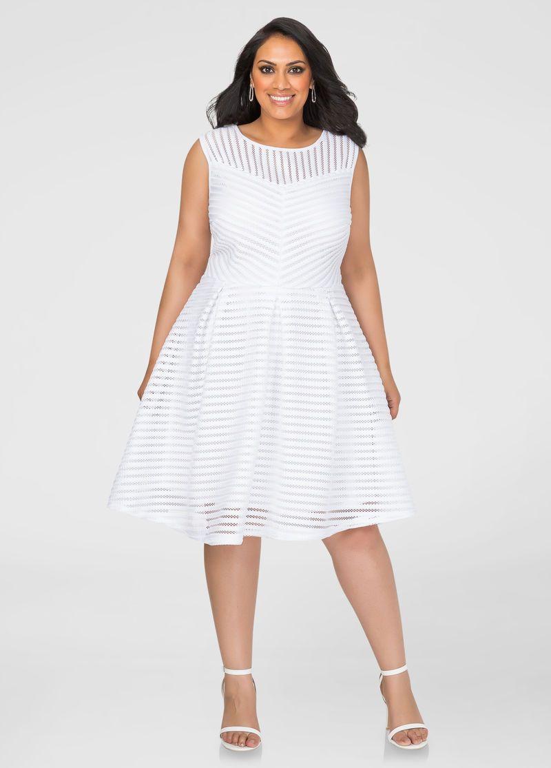 Mesh Stripe Skater Dress in 2019 | Plus Size | White plus size ...