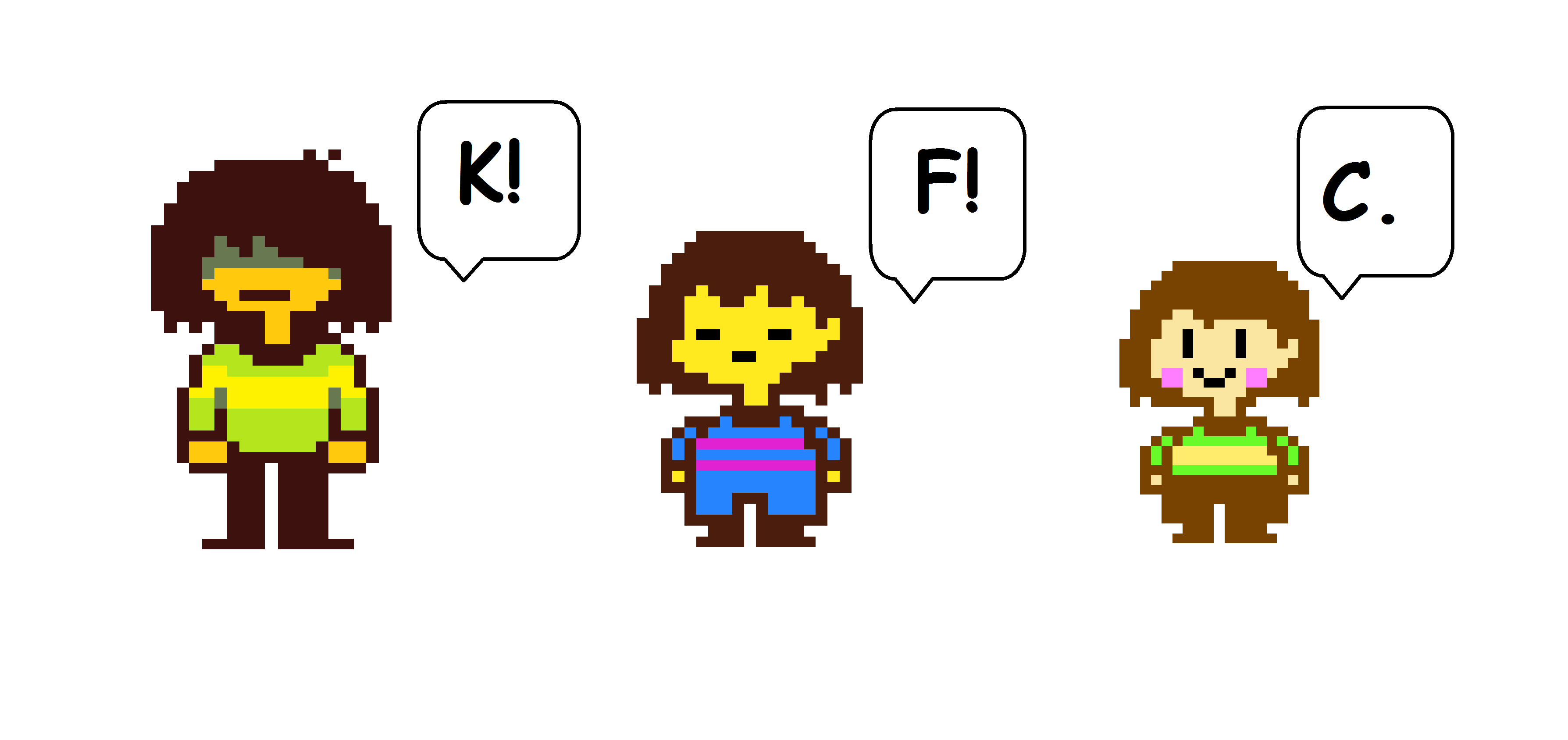 A short Kris, Frisk and Chara comic Made with MS  Paint