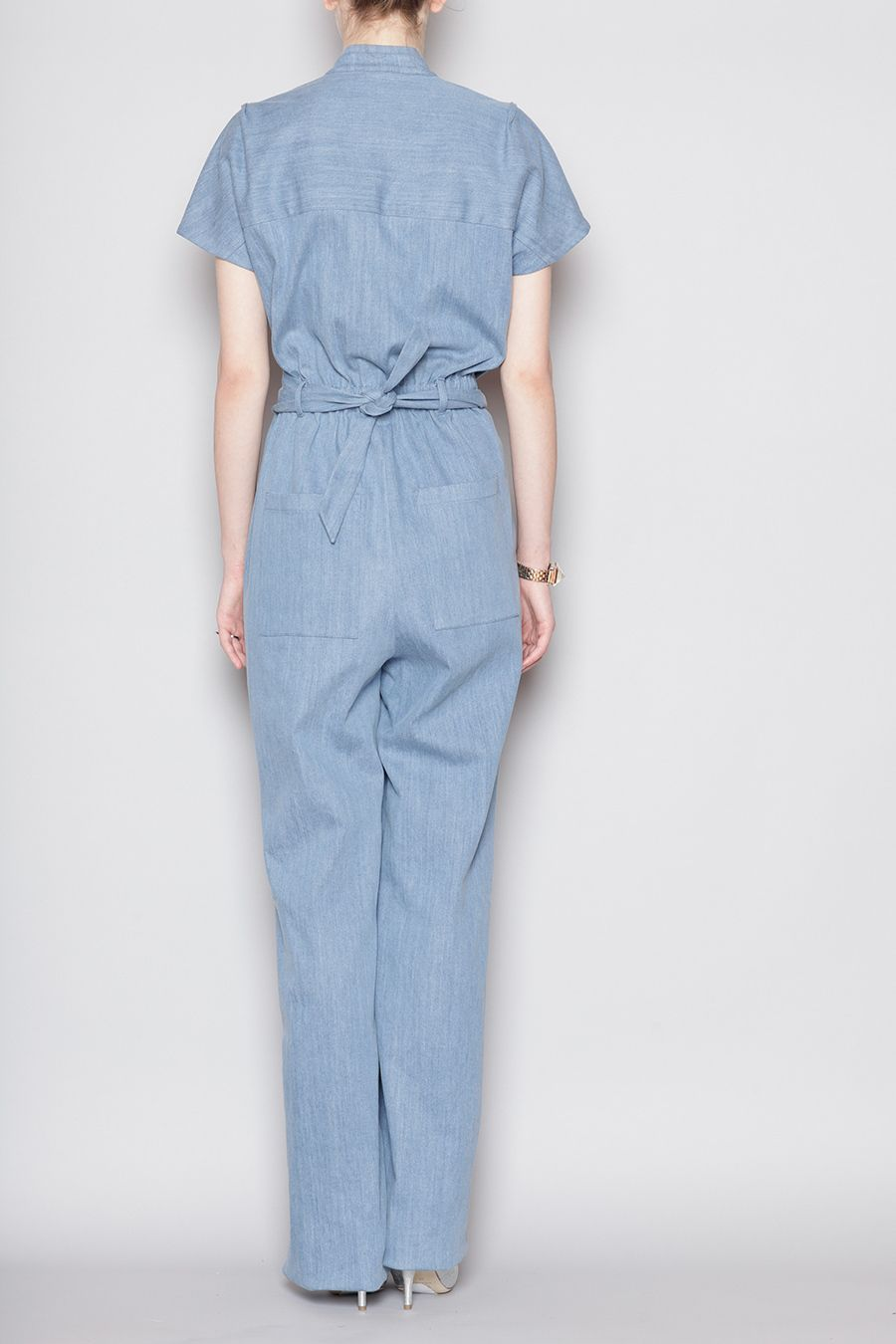 Short sleeve jumpsuit in a mediumweight denim fabric round neck