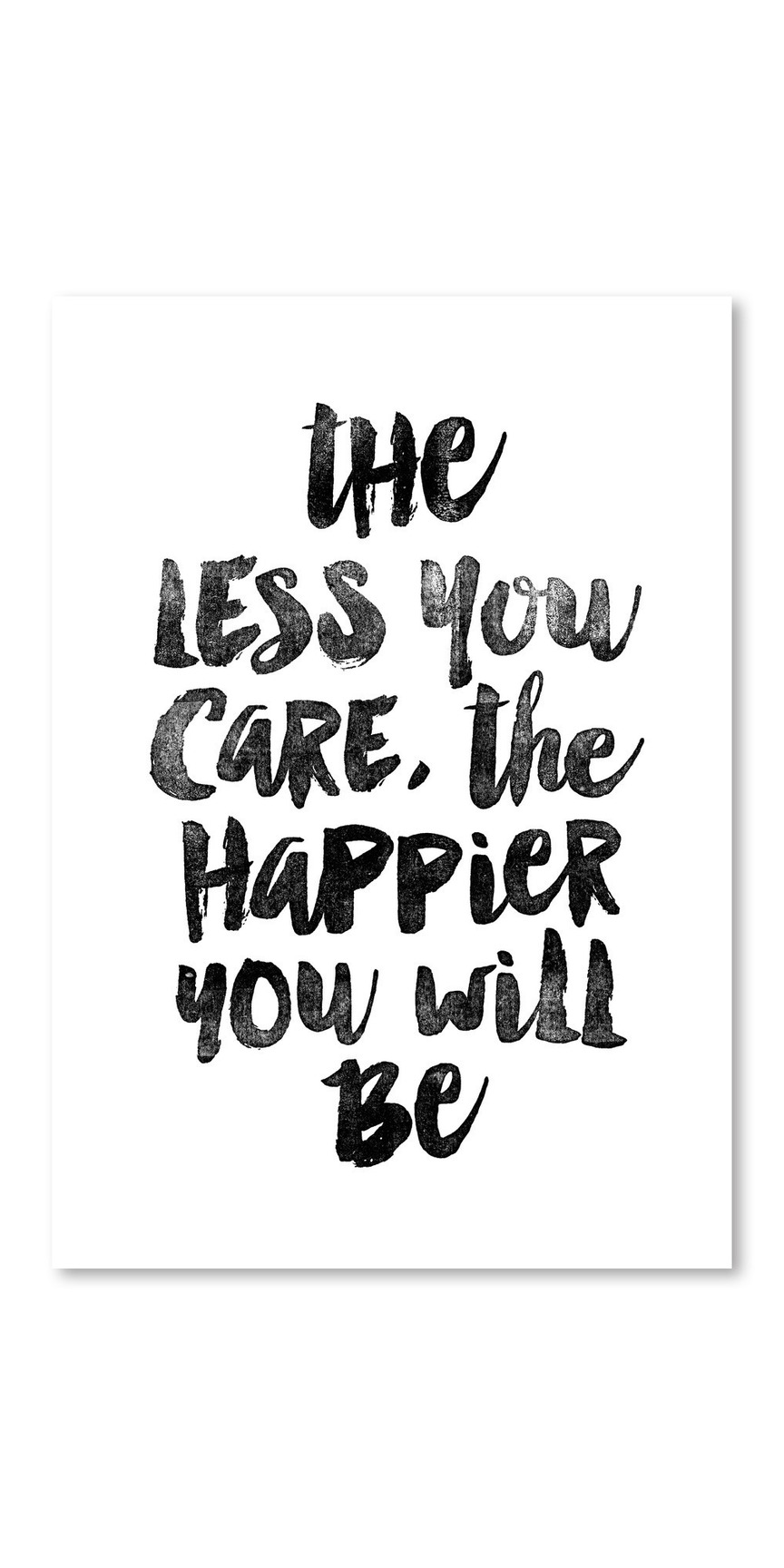 Americanflat The Less You Care The Happier You Will Be Typography Framed Wall Art Chalkboard Art Quotes Americanflat