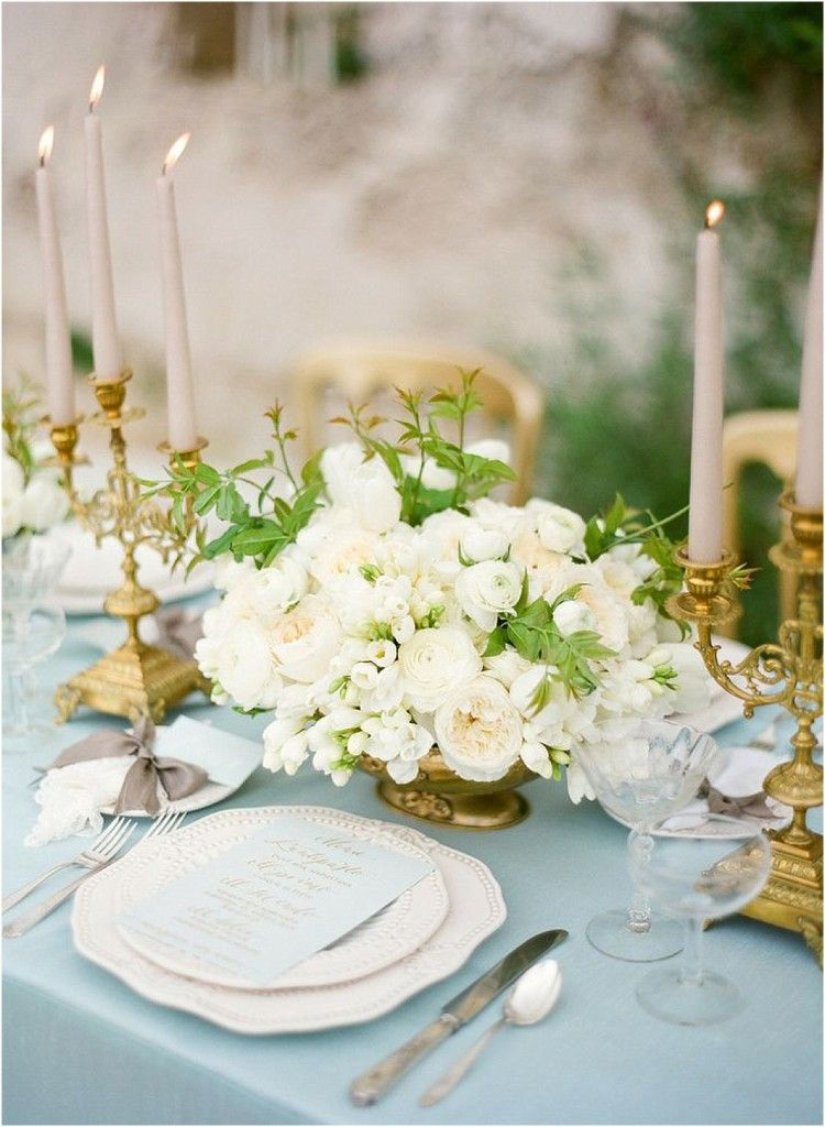 Dusty Blue And Gold Wedding Inspiration The Bride Link Wedding Table Dusty Blue Weddings Wedding Tablescapes