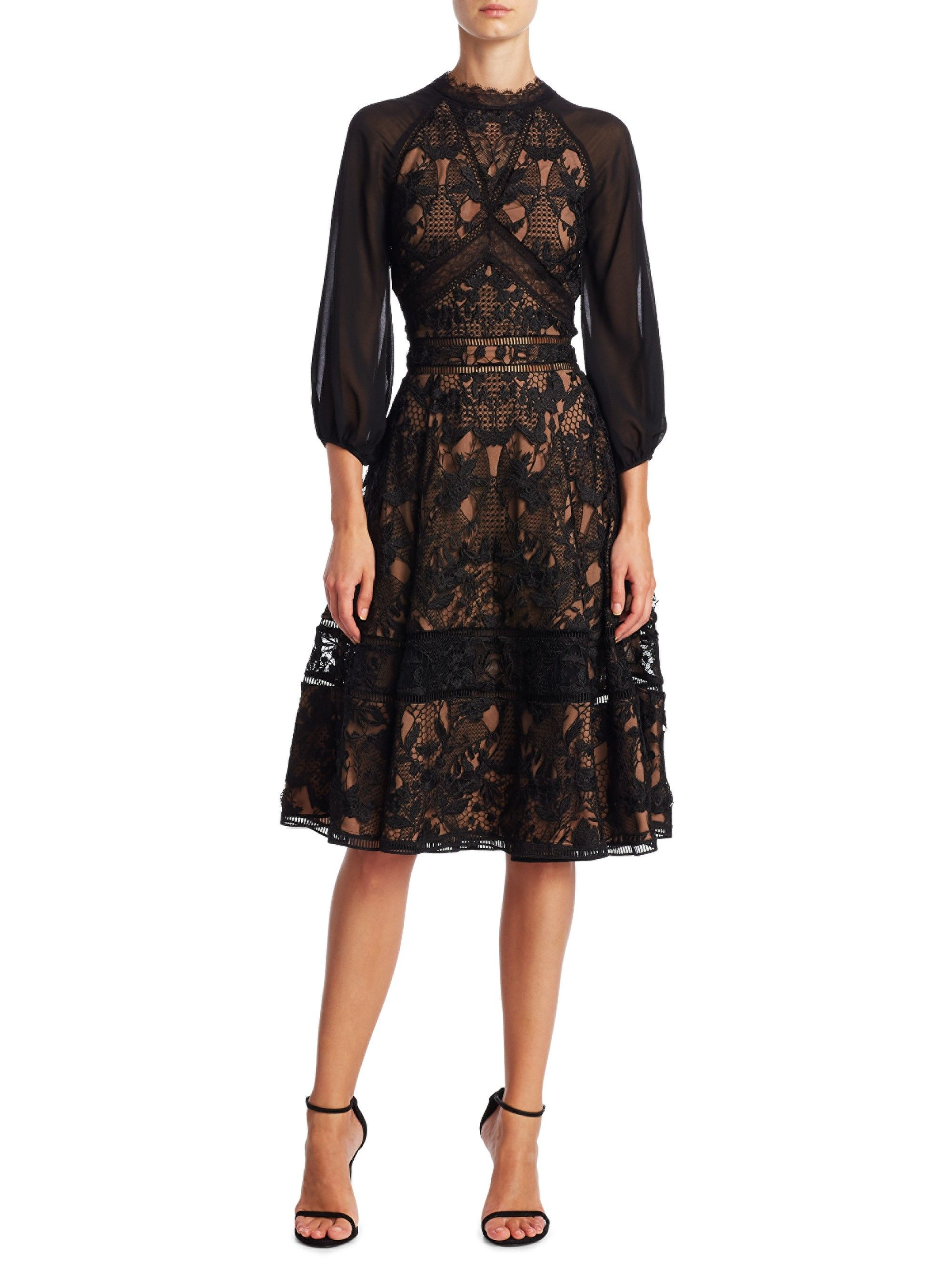 54cb2e67 Guipure A-Line Cocktail Dress by MARCHESA NOTTE in 2019   Products ...