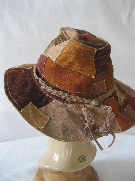 1960s Suede Hippie Hat   Woodstock   Patchwork Leather Everybody I knew had  one of these ) 26a91f42f06